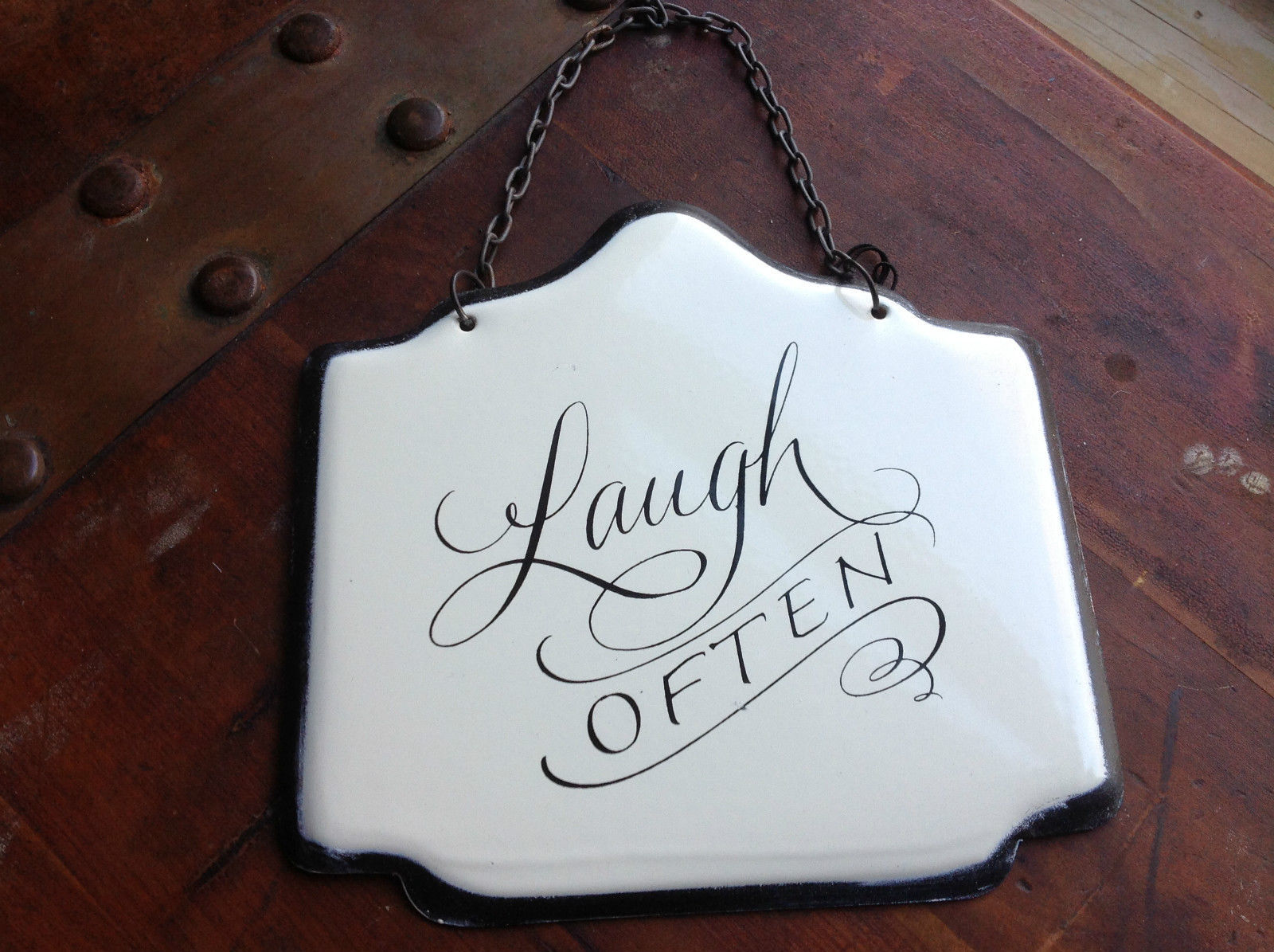 Enameled Metal Sign Laugh Often with Black Chain. Ready to Hang