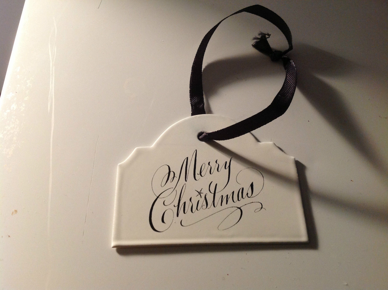 Enameled Sign Black Ribbon Hanger 3 holiday gift tag ornament Christmas