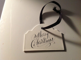 Enameled Sign Black Ribbon Hanger 3 holiday gift tag ornament Christmas image 1