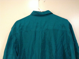 Direct Hit Short Sleeve Teal 100 Percent Silk Button Front Blouse Size Large image 5