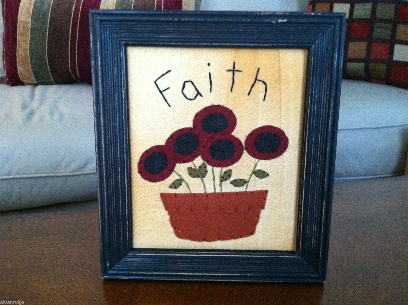 "Framed Felt Potted Fuchsia Poppy Flower picture w/ ""Faith"" Embroidered"