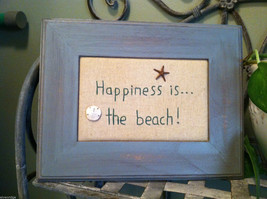 "Framed ""Happiness is...the Beach"" Embroidered wall art"