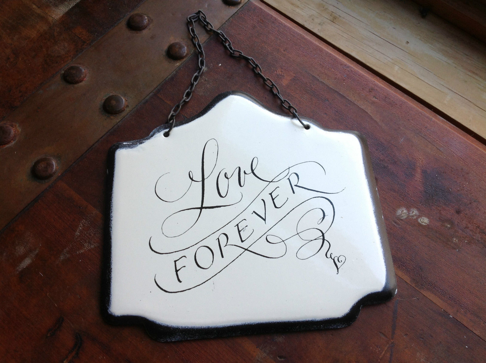 Enameled Metal Sign Love Forever with Black Chain Ready to Hang