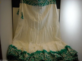 3 Piece White and Green Gopi Skirt Set image 2