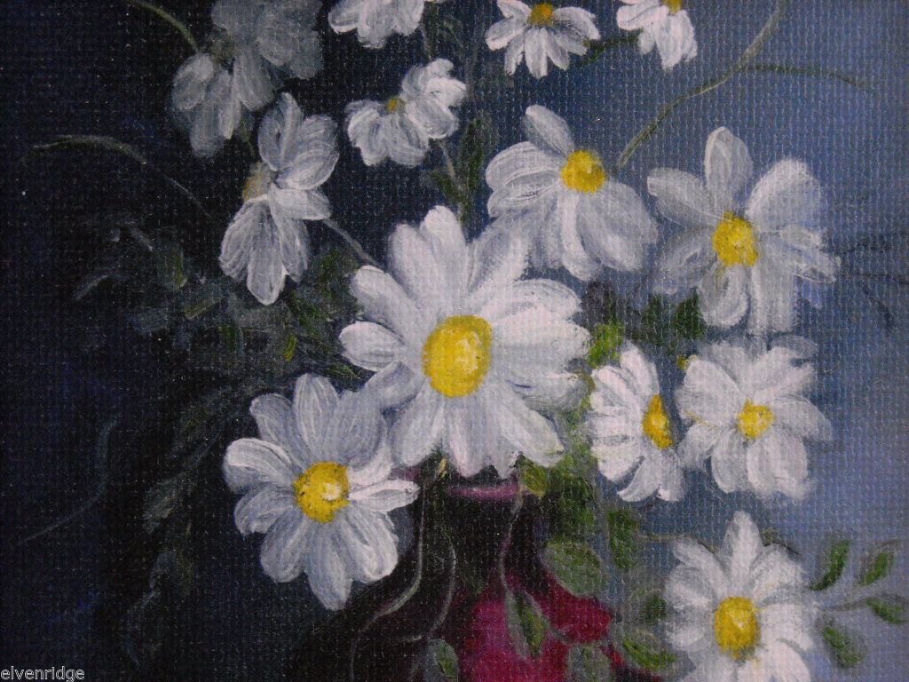 Framed Giclee print still Daisies Canvas Painting Hudson Valley art St. Leger