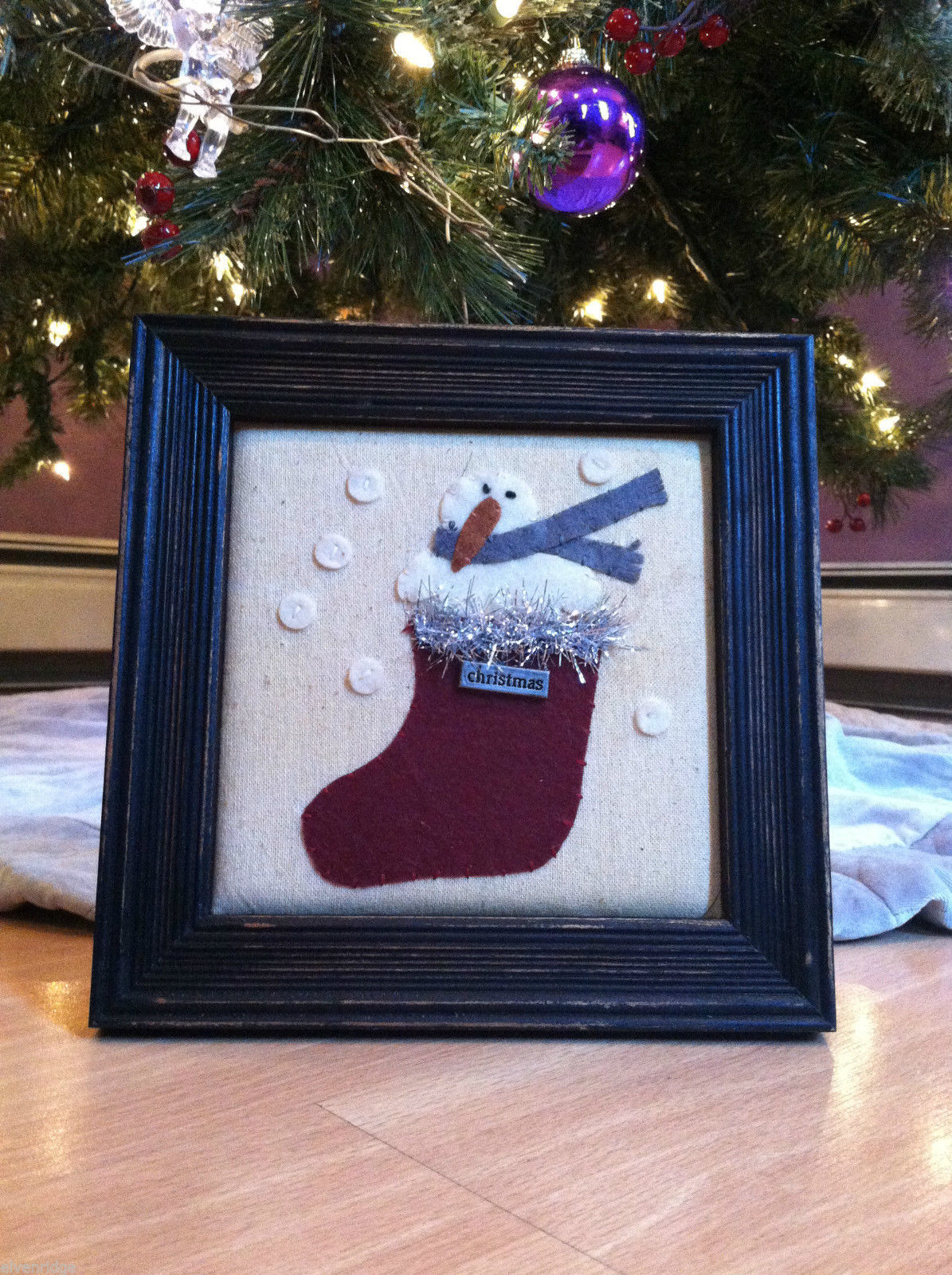 Framed Fabric Stitching Picture of Snowman in Christmas Red Stocking