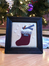 Framed Fabric Stitching Picture of Snowman in Christmas Red Stocking image 1