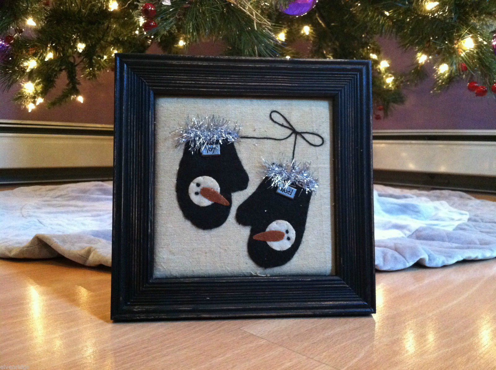 Framed Fabric Hand Stitched Picture of Black Mittens w Snowmen Christmas Decor
