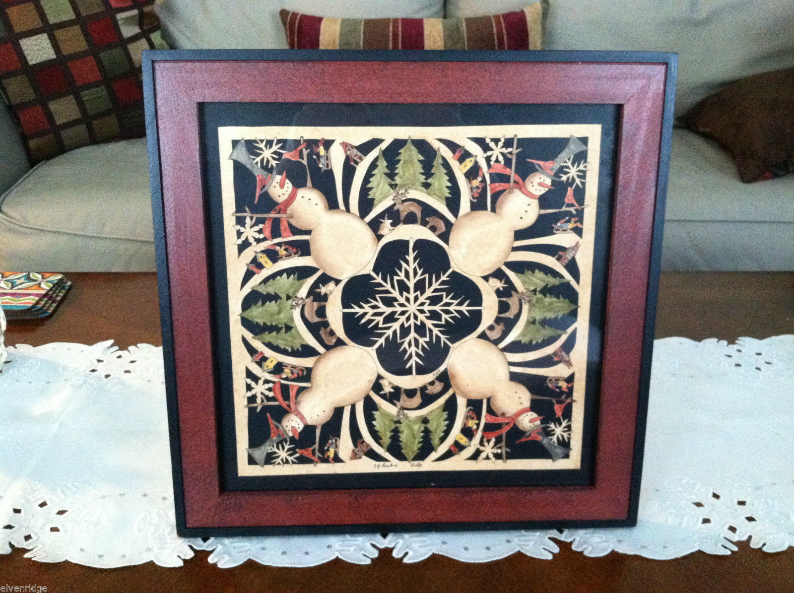 Framed Snowman Snowflake Kaleidoscope Christmas Paper Cutting Picture