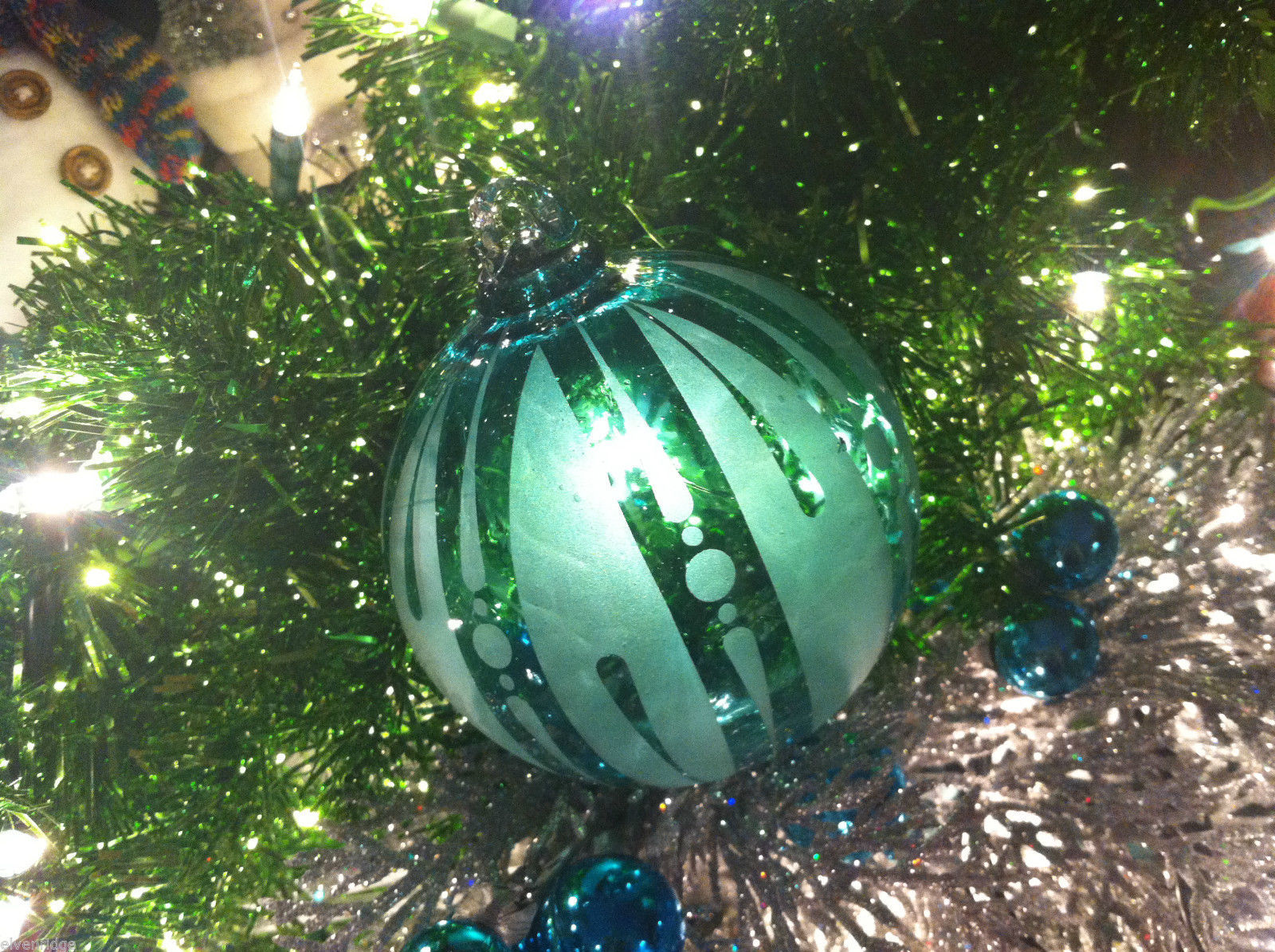 Frosted Hand blown large heirloom glass Christmas ornament Festive Green Teal