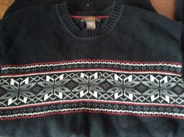 Dockers Black with Design on Front Long Sleeve Sweater 100 Percent Cotton Size L image 6