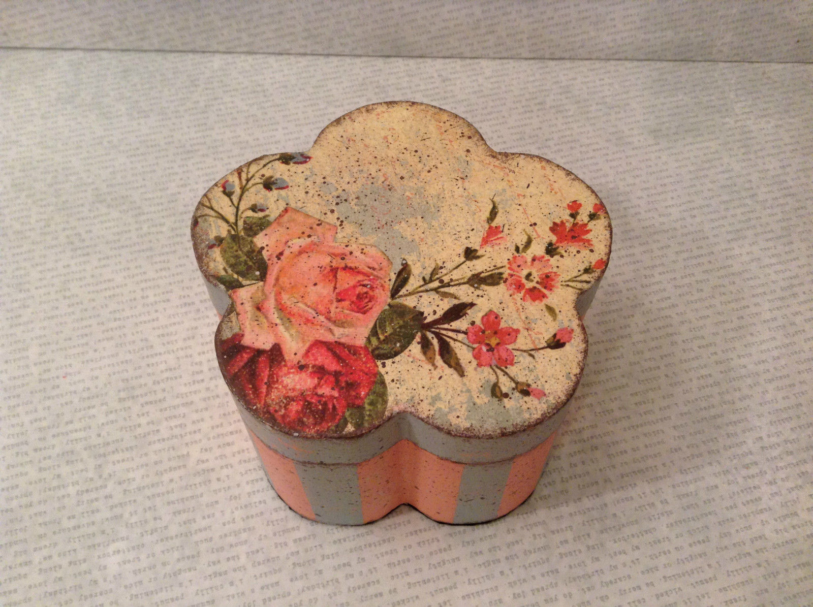 Flower Shaped Wooden Trinket Box Pink Baby Blue Decoupage Technique Paint