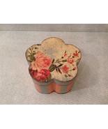 Flower Shaped Wooden Trinket Box Pink Baby Blue Decoupage Technique Paint - $34.64