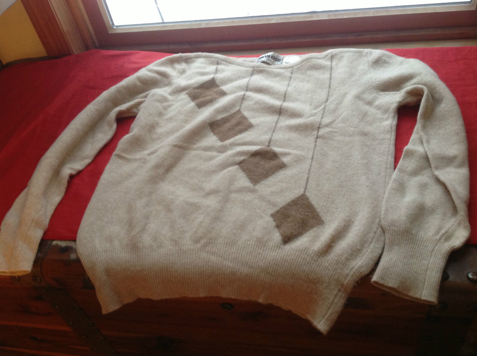 Emilio Rossi Brown Pullover Sweater with Patterns Size Large