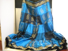 3 Piece Blue and Black Indian Gopi Skirt Set with Scarf image 2