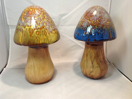 Enesco Tall Ceramic Mushroom Figurine Choice of Blue Cap OR Yellow Green Cap - $34.64