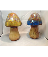 Enesco Tall Ceramic Mushroom Figurine Choice of Blue Cap OR Yellow Green... - $34.64