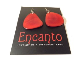 Encanto Jewelry of a Different Kind Red Tagua Dangling Round Homemade Earrings