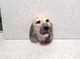 English Setter Head Mini Refrigerator Magnet Recycled Rabbit Fur