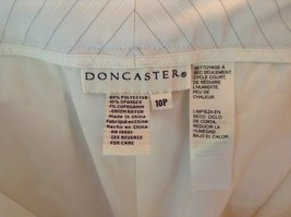 Doncaster Size 10P White Pinstriped Casual Dress Pants Front and Back Pockets image 4