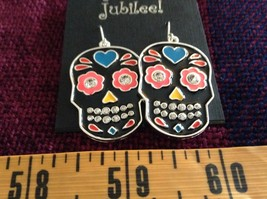 Fashion earrings Day of the Dead Candy Skull with Crystals choice of color image 3