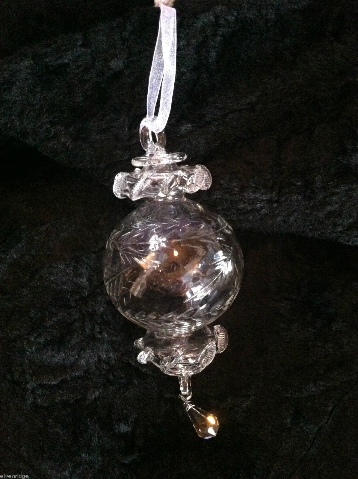 Etched Flower Glass Ornament w/ teardrop crystal hanging