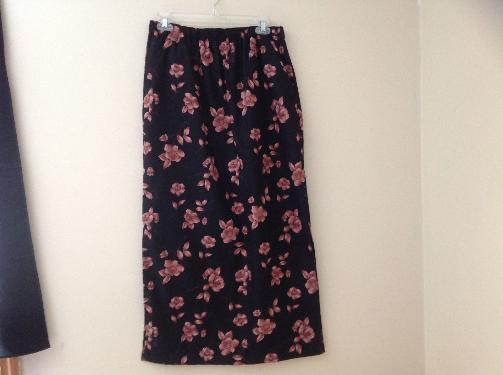 Erika Studio Black Mauve Flower Patterned Ankle Length Skirt Pockets Size M