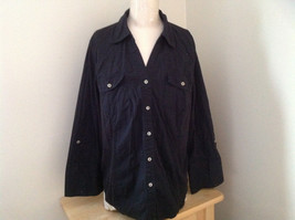 Essentials Black V Neckline Button Up Long Sleeve Shirt Made in China Size 18/20