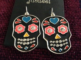 Fashion earrings Day of the Dead Candy Skull with Crystals choice of color image 2