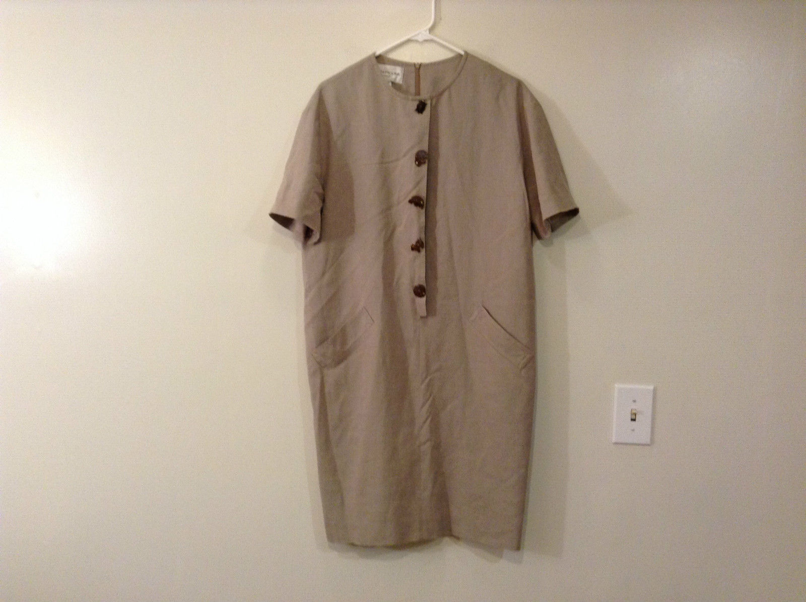 Evan Picone Natural Linen Gray Fully Lined Short Sleeve Dress Size 10
