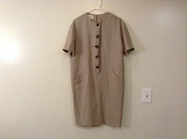 Evan Picone Natural Linen Gray Fully Lined Short Sleeve Dress Size 10 image 1