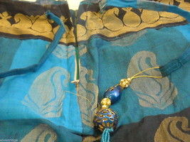 3 Piece Blue and Black Indian Gopi Skirt Set with Scarf image 4