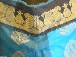3 Piece Blue and Black Indian Gopi Skirt Set with Scarf image 3