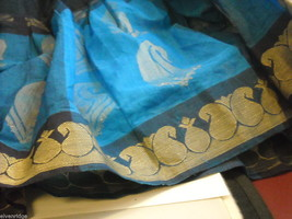 3 Piece Blue and Black Indian Gopi Skirt Set with Scarf image 5
