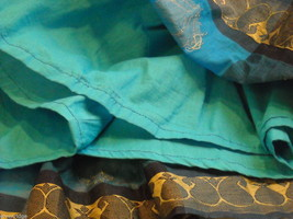 3 Piece Blue and Black Indian Gopi Skirt Set with Scarf image 6