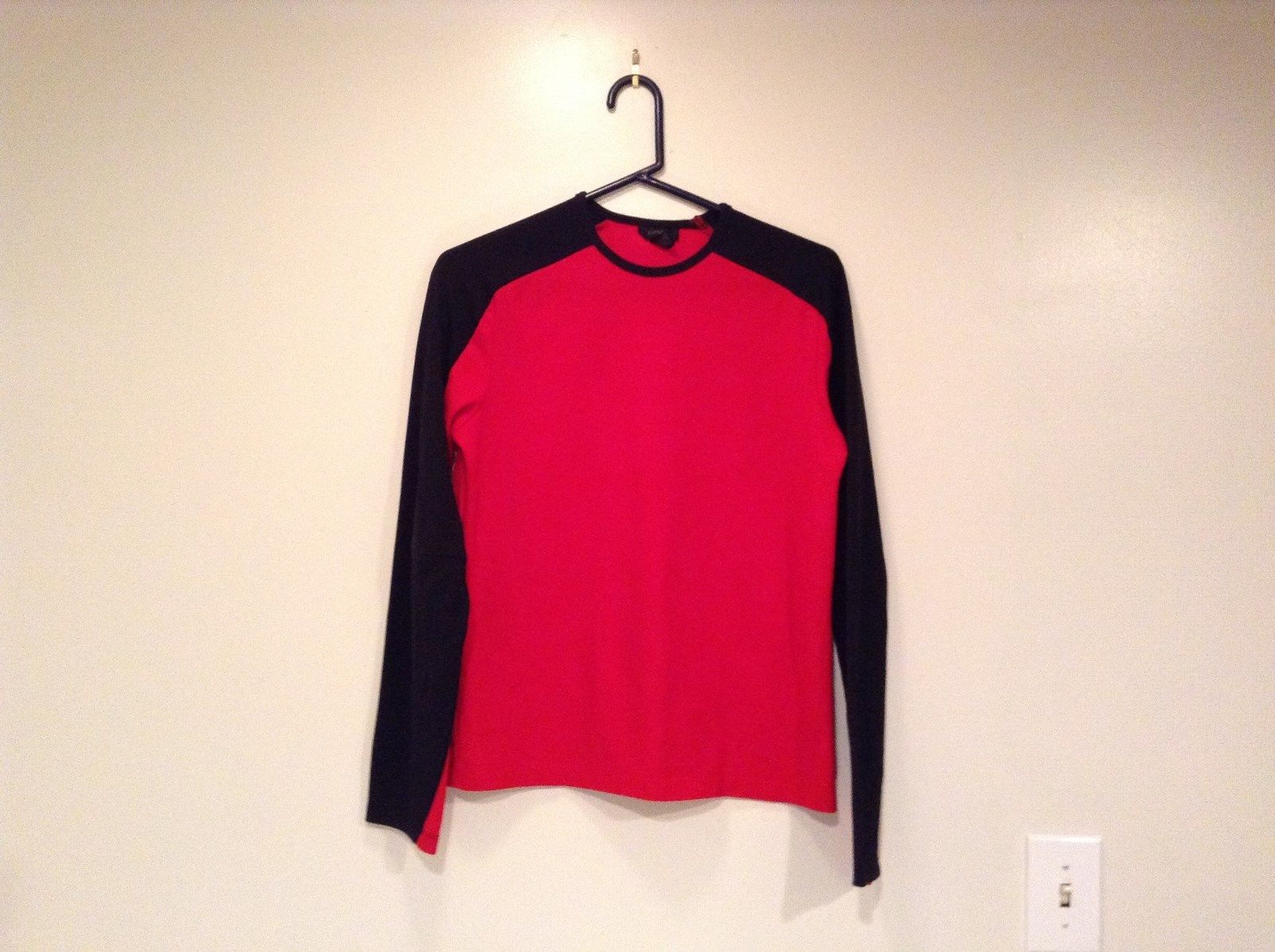 Express Long Sleeve Size Small 100 Percent Polyester Bright Red Black Shirt