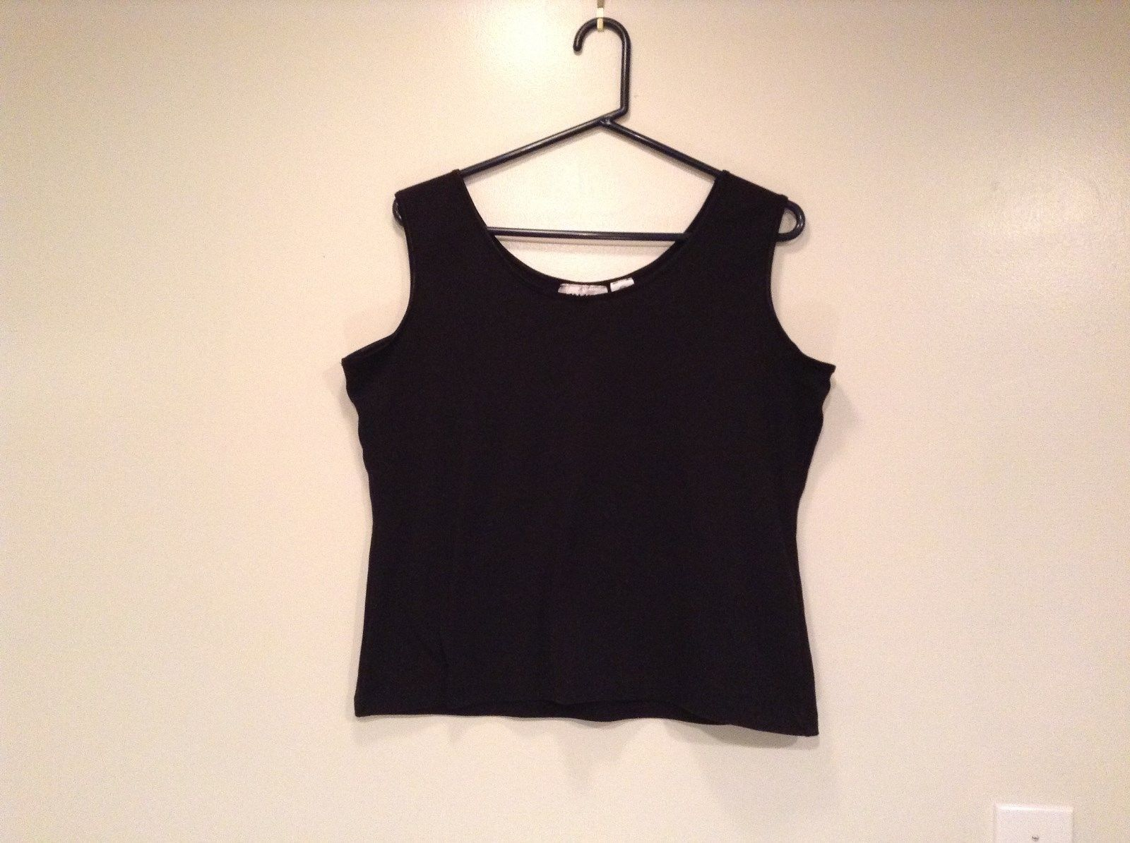 Extra Touch Black Sleeveless Tank Top Size 2X Scoop Neck Cotton Spandex Blend