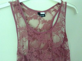 Dusty Rose See Through Tank Top Flower Design Divided by H and M Size 2 image 3