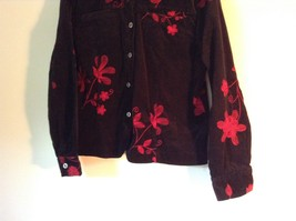 ELCC Stretch Black with Stitched Red Flowers Long Sleeve Blazer Jacket Size M image 2