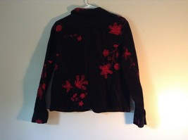 ELCC Stretch Black with Stitched Red Flowers Long Sleeve Blazer Jacket Size M image 4