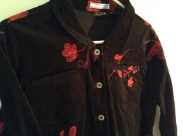 ELCC Stretch Black with Stitched Red Flowers Long Sleeve Blazer Jacket Size M image 3