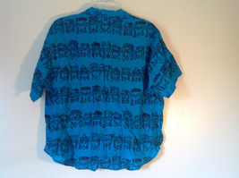 E Spirit Bright Teal Blue Short Sleeve Button Down Shirt with Collar Size S image 5