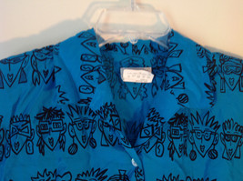 E Spirit Bright Teal Blue Short Sleeve Button Down Shirt with Collar Size S image 2