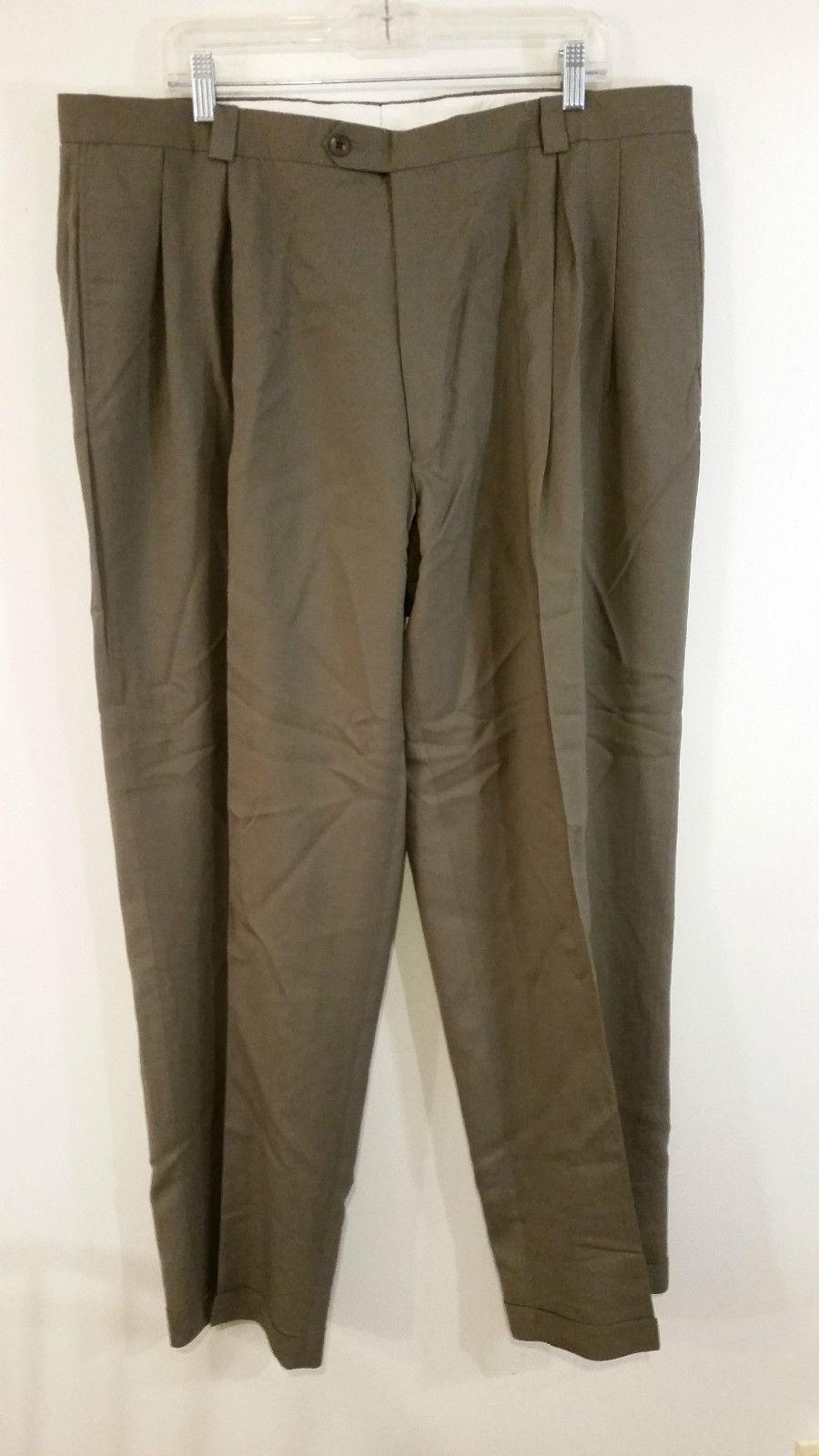 FUBU Dark Beige 100 Percent Wool Dress Pants Pleated Front Size 40W x 32L