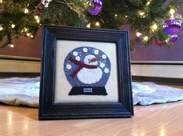 Fabric Stitching Picture - Snowman in Believe Snow Globe Christmas Decor
