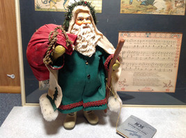 Fabriche Santa Claus Figurine Green with Bag Clothique Collectible