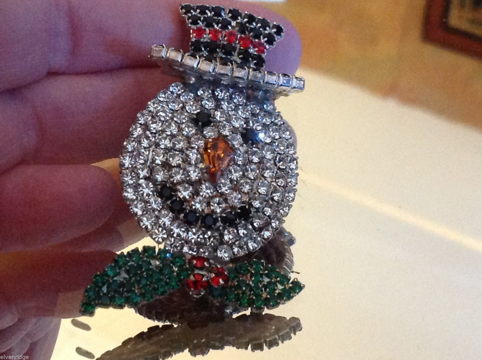 Fabulous Snowman colored rhinestone and crystal brooch pin