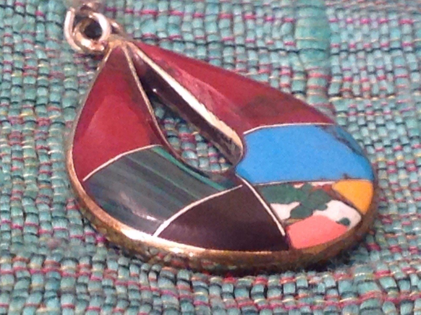 Earrings Artisanal Silver with inlay teardrop turquoise Carnelian Onyx
