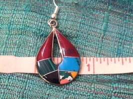 Earrings Artisanal Silver with inlay teardrop turquoise Carnelian Onyx  image 2