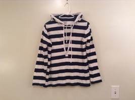 Faded Glory Navy Blue White Stripes Long Sleeve Hooded Shirt Size M 8 to 10